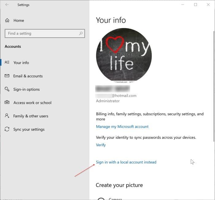 đăng xuất khỏi tài khoản Microsoft trong Windows 10 pic1