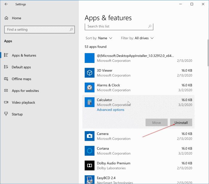 đặt lại hoặc cài đặt lại ứng dụng máy tính trong Windows 10 pic3