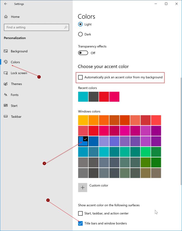 thay đổi màu viền cửa sổ trong Windows 10 pic1