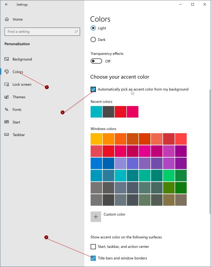 thay đổi màu viền cửa sổ trong Windows 10 pic2