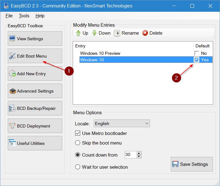 thay đổi hệ điều hành mặc định trong Windows 10 step7