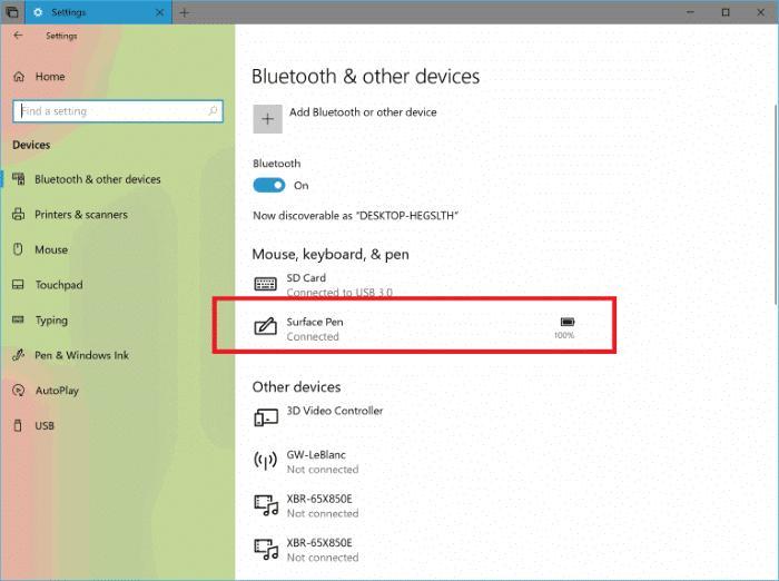 kiểm tra mức pin bàn phím và chuột trong Windows 10