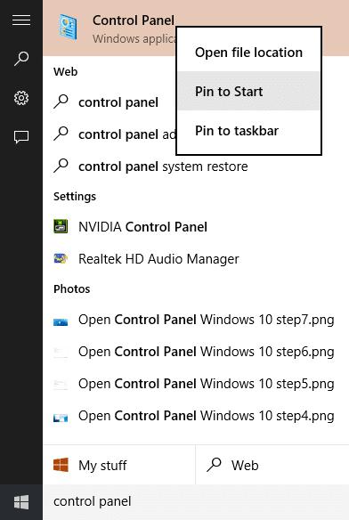 Mở Control Panel Windows 10 step8