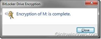 Mã hóa ổ BitLocker hoàn tất