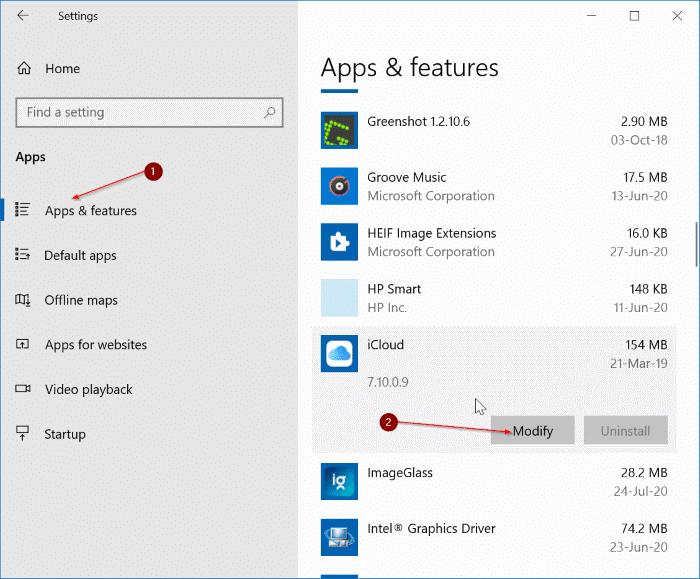 Gỡ cài đặt iCloud và ảnh iCloud khỏi Windows 10 pic1