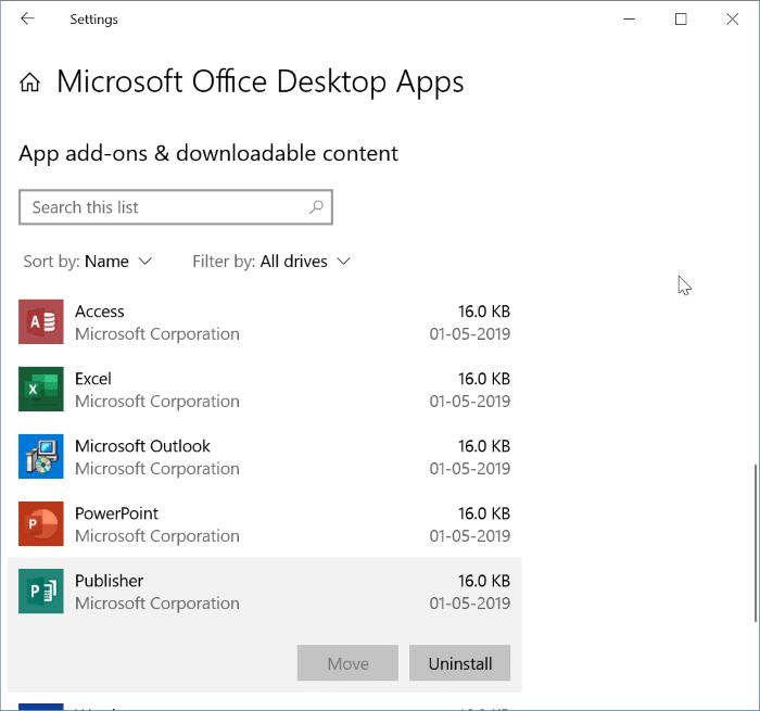 Gỡ cài đặt các ứng dụng Office 365 riêng lẻ khỏi Windows 10 pic2