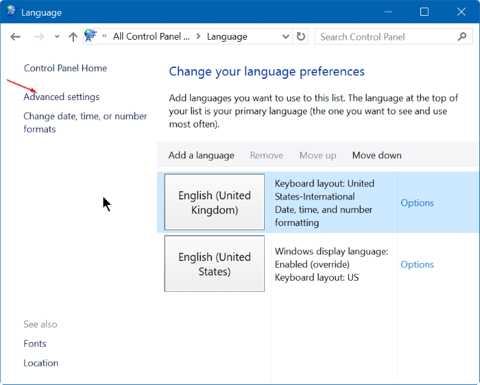 bật hoặc tắt thanh ngôn ngữ trong Windows 10 step3