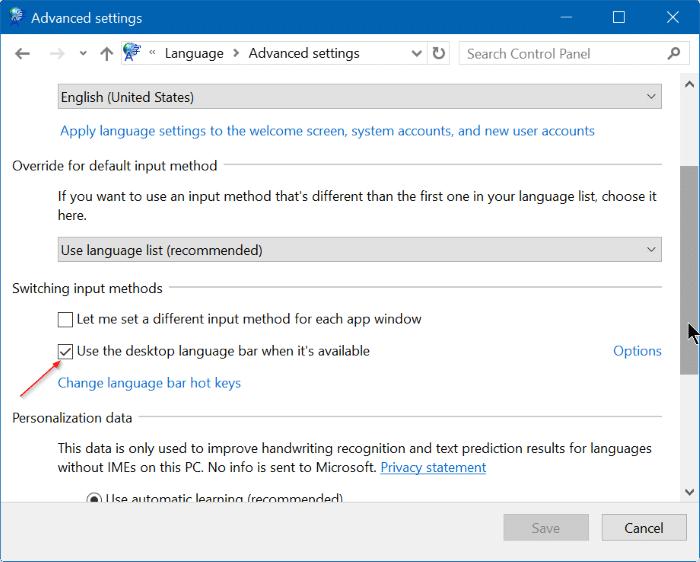 bật hoặc tắt thanh ngôn ngữ trong Windows 10 step4