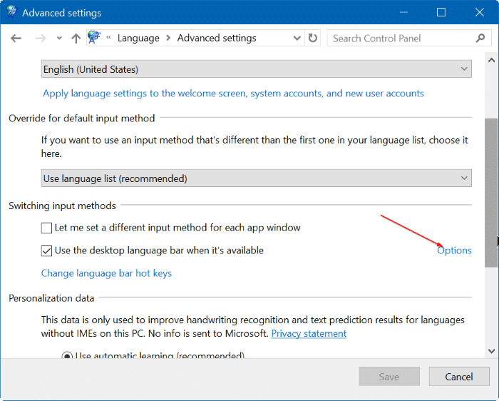 bật hoặc tắt thanh ngôn ngữ trong Windows 10 step5