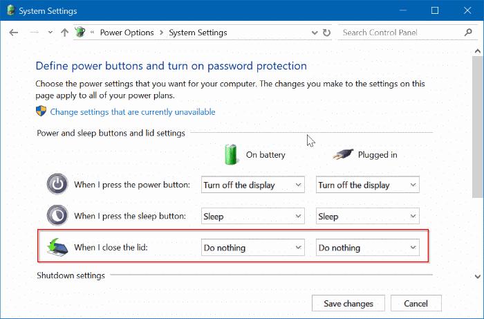 ngăn máy tính xách tay khởi động khi mở nắp trong windows 10 pic3