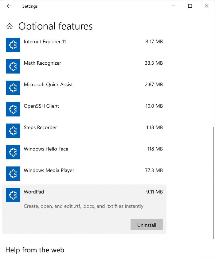 Cài đặt hoặc gỡ cài đặt WordPad trong Windows 10 pic1