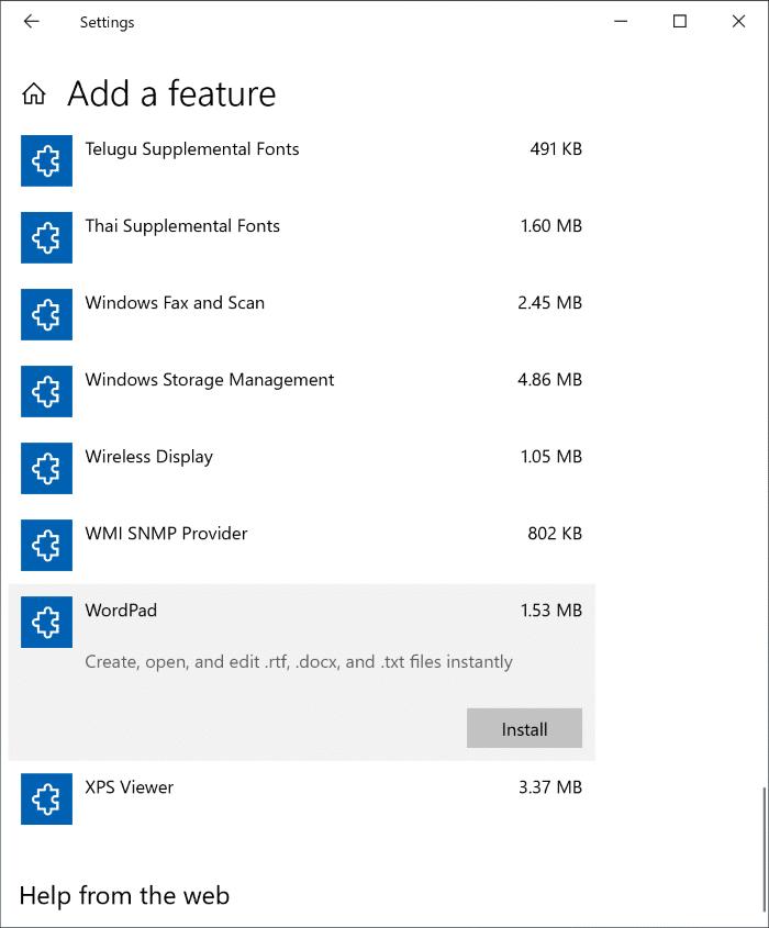 Cài đặt hoặc Gỡ cài đặt WordPad trong Windows 10 pic3