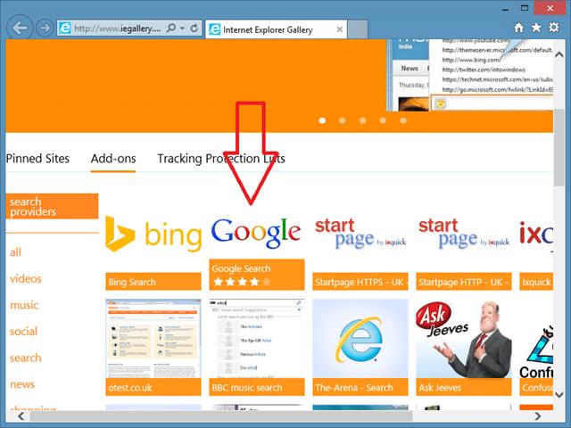 Thay đổi nhà cung cấp dịch vụ tìm kiếm của Internet Explorer thành Google Step4