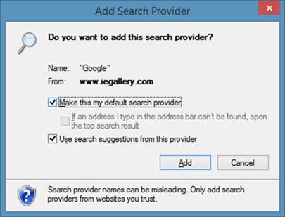 Thay đổi nhà cung cấp dịch vụ tìm kiếm của Internet Explorer thành Google Step6