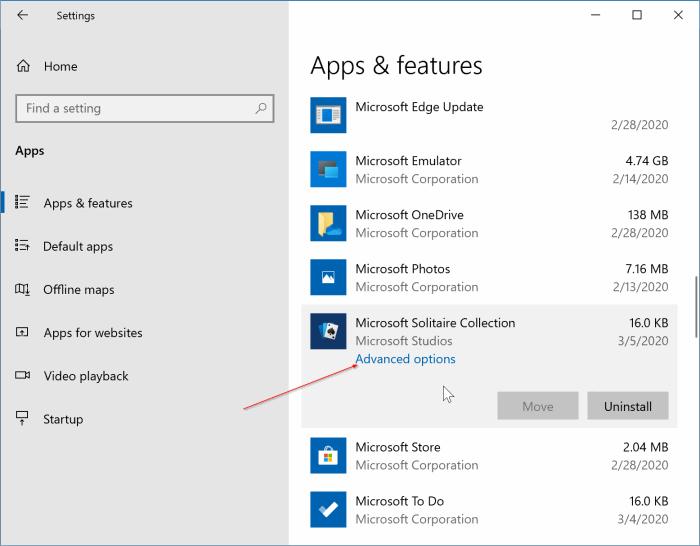 đặt lại bộ sưu tập Microsoft solitaire trong Windows 10 pic1