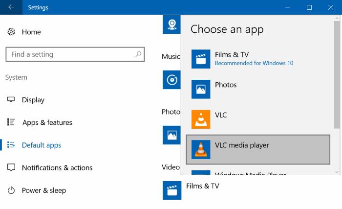 đặt VLC media player làm trình phát video mặc định trong Windows 10 pic2