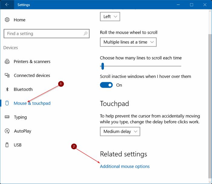đặt lại cài đặt bàn di chuột Windows 10 pic1