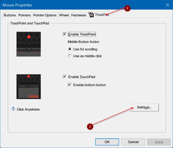 đặt lại cài đặt bàn di chuột Windows 10 pic2