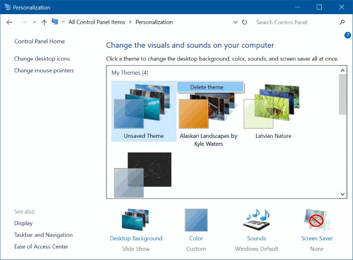 xóa chủ đề trong Windows 10 pic3