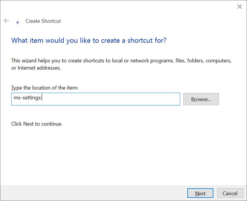 Tạo phím tắt trên màn hình cho ứng dụng Cài đặt trong Windows 10 pic2