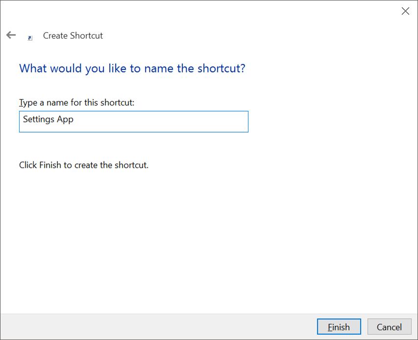 Tạo phím tắt trên màn hình cho ứng dụng Cài đặt trong Windows 10 pic3