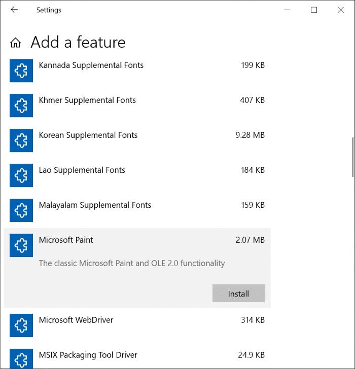 Cài đặt và gỡ cài đặt Paint trong Windows 10 pic4