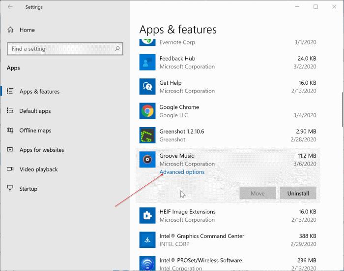 đặt lại ứng dụng Groove Music trong Windows 10 pic1