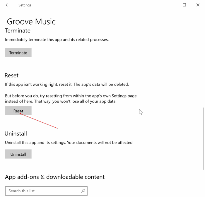 đặt lại ứng dụng Groove Music trong Windows 10 pic2