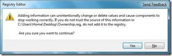 Xác nhận của trình biên tập registry