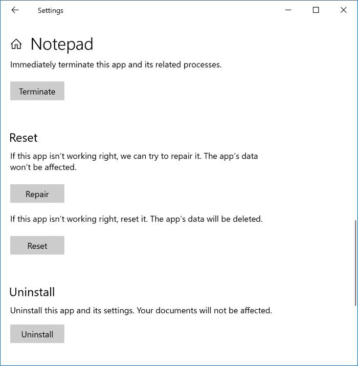 Sửa chữa hoặc Gỡ cài đặt Notepad trong Windows 10 pic2
