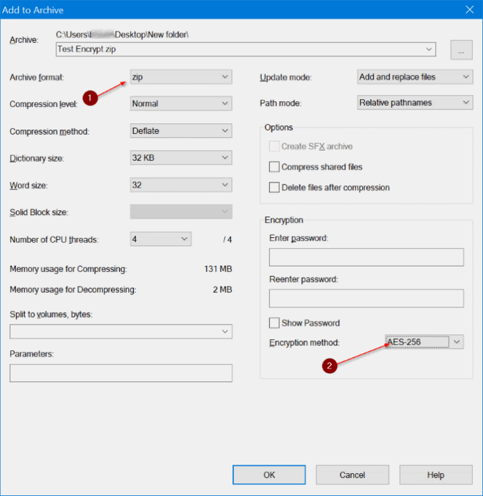 use 7zip to encrypt files and folders in Windows 10 pic3
