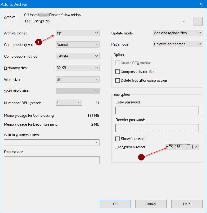 sử dụng 7zip để mã hóa các tệp và thư mục trong Windows 10 pic3