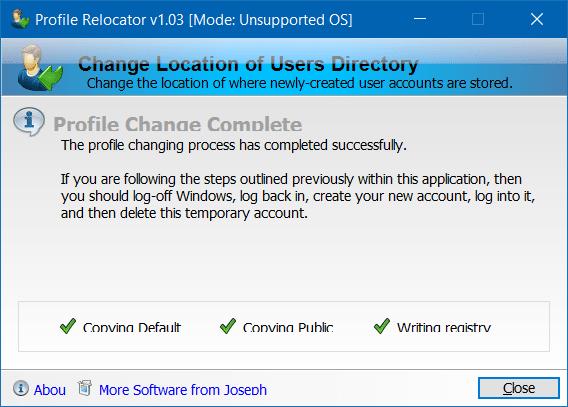Di chuyển thư mục hồ sơ người dùng sang một ổ đĩa khác trong Windows 10 bước 4