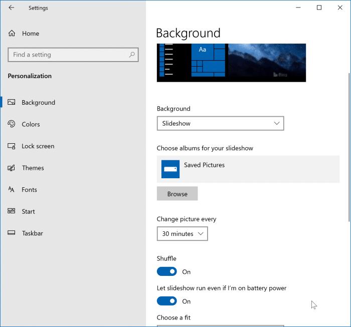 Bật trình chiếu nền màn hình trong Windows 10 pic2