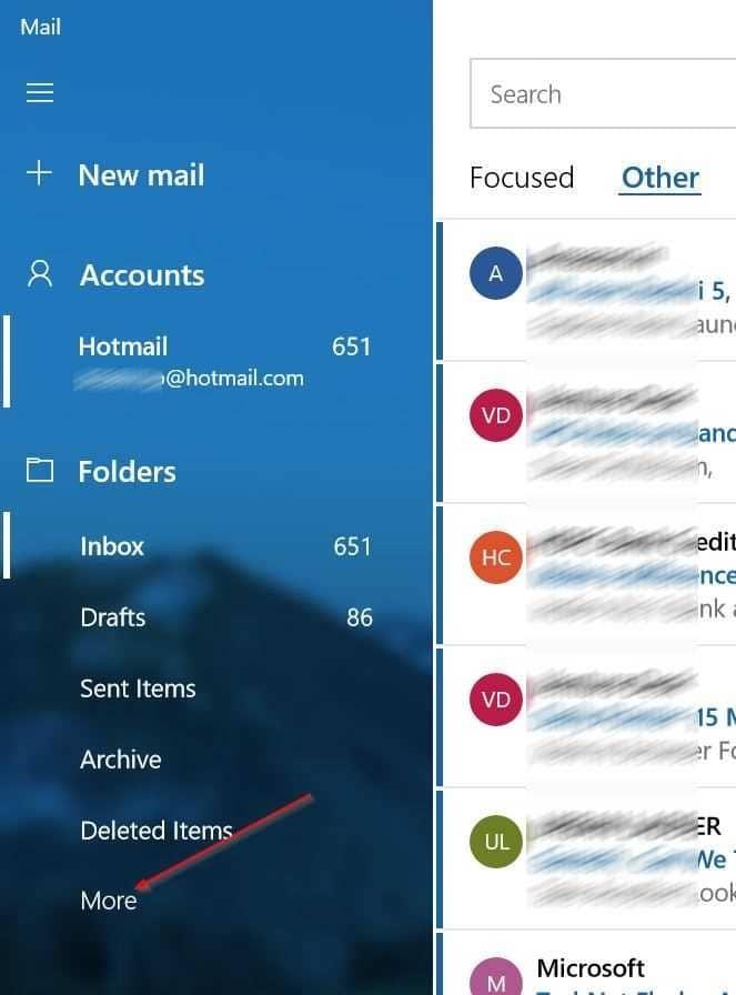 mở thư mục thư rác trong ứng dụng thư trên Windows 10 pic1