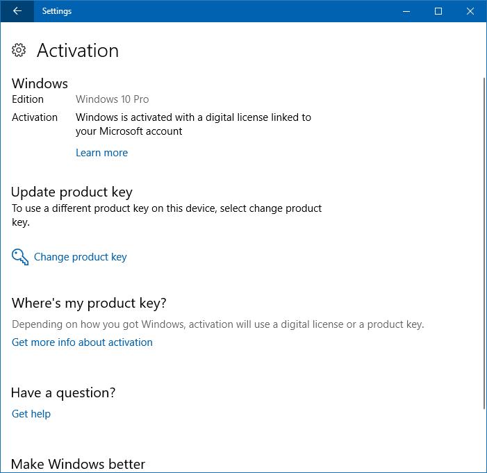 thay đổi khóa sản phẩm trong windows 10