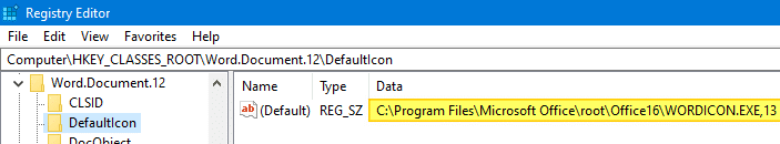 Các tệp word .docx và .doc hiển thị biểu tượng màu trắng chung - registry defaulticon