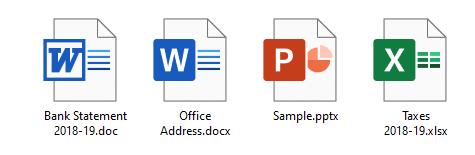 Các tệp word .docx và .doc hiển thị biểu tượng màu trắng chung