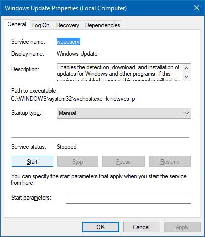 tab thuộc tính dịch vụ cập nhật windows chuyển sang màu xám - wuauserv sddl fix