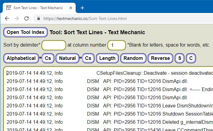 đảo ngược dòng trong cửa sổ tệp văn bản