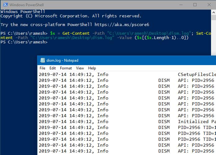 đảo ngược dòng trong tệp văn bản windows powershell