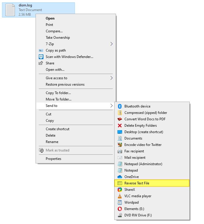 đảo ngược dòng trong tệp văn bản windows vbscript