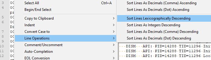 đảo ngược dòng trong tệp văn bản notepad ++