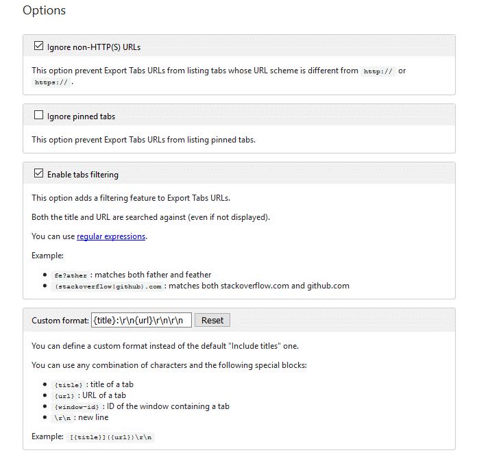 Sao chép URL và tiêu đề của tất cả các tab đang mở trong Chrome và Firefox