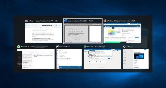 cách đóng chương trình từ màn hình Tab thay thế trong Windows 10