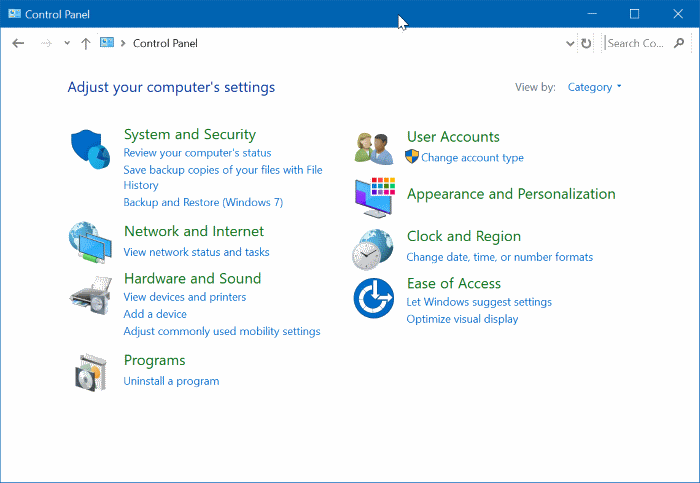 mở control Panel trong Windows 10