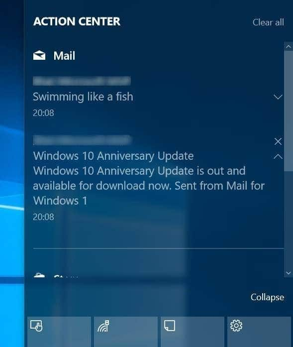turn on off email notifications in action center Windows 10