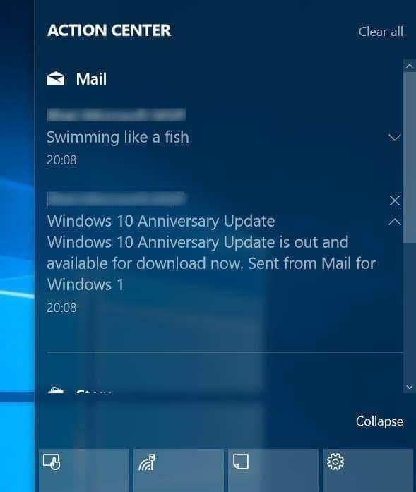tắt thông báo email trong trung tâm hành động Windows 10