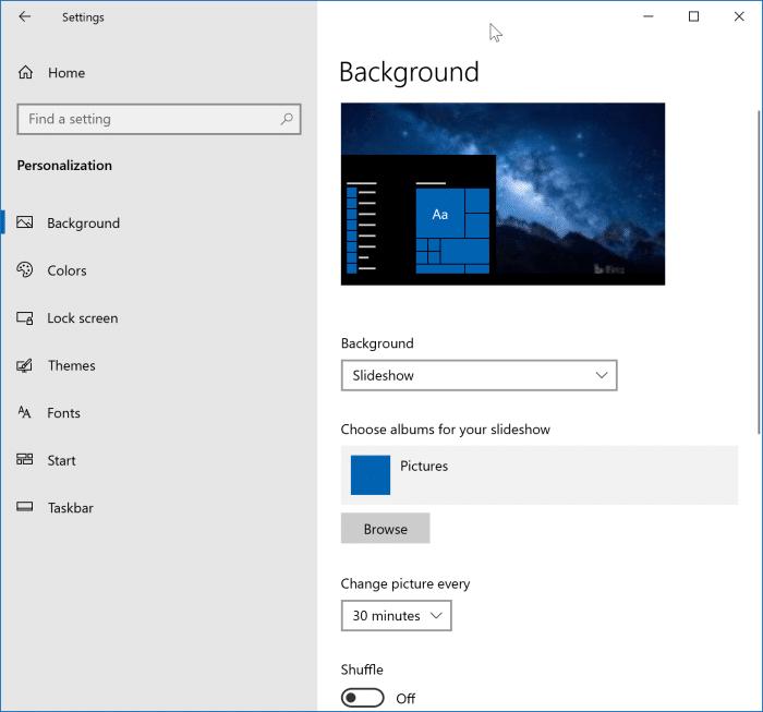 Bật trình chiếu nền màn hình trong Windows 10 pic1