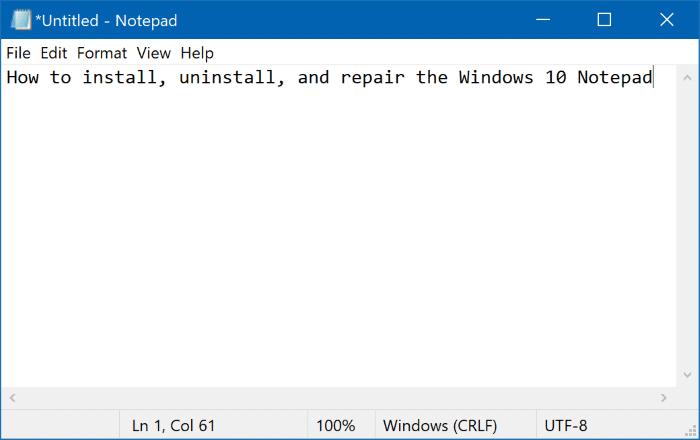 Cài đặt, gỡ cài đặt hoặc sửa chữa Notepad trong Windows 10